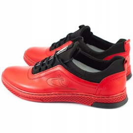 Polbut Men's leather casual shoes K24 red 5