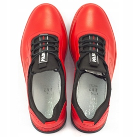 Polbut Men's leather casual shoes K24 red 6