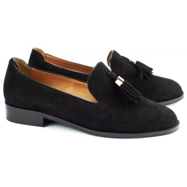 Lizard Black loafers 04642 for women 2