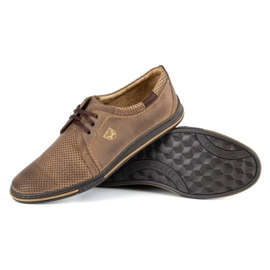 Polbut Leather men's shoes 343 perforation brown 3