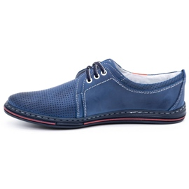 Polbut Men's leather shoes 343, navy blue perforation 1