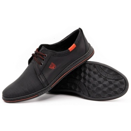 Polbut Leather men's shoes 343 perforation black 3