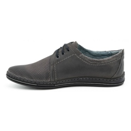 Polbut Men's leather shoes 343, gray perforation grey 1