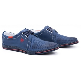 Polbut Men's leather shoes 343, navy blue perforation 2