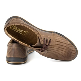 Polbut Leather men's shoes 343 perforation brown 4