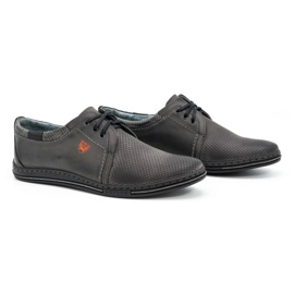 Polbut Men's leather shoes 343, gray perforation grey 2