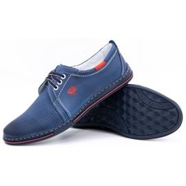 Polbut Men's leather shoes 343, navy blue perforation 3