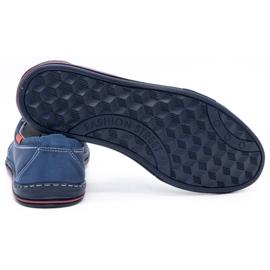 Polbut Men's leather shoes 343, navy blue perforation 4