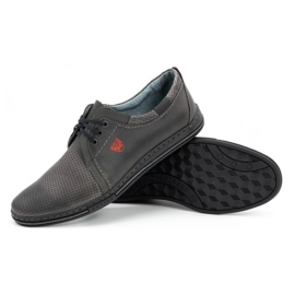 Polbut Men's leather shoes 343, gray perforation grey 3