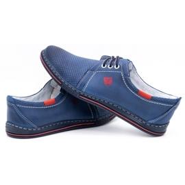Polbut Men's leather shoes 343, navy blue perforation 5