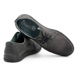 Polbut Men's leather shoes 343, gray perforation grey 4