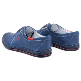 Polbut Men's leather shoes 343, navy blue perforation 6