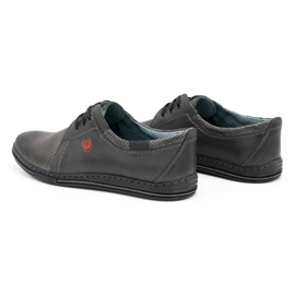 Polbut Men's leather shoes 343, gray perforation grey 6