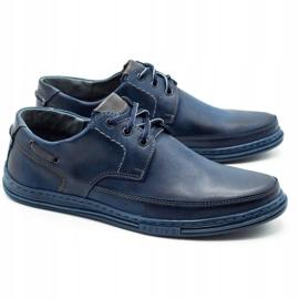 Polbut Leather men's shoes J44 navy blue 2