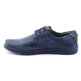 Polbut Leather men's shoes J44PŁ Navy blue 1