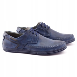 Polbut Leather men's shoes J44PŁ Navy blue 2