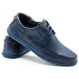 Polbut Leather men's shoes J44 navy blue 4