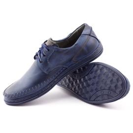 Polbut Leather men's shoes J44PŁ Navy blue 3