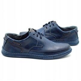 Polbut Leather men's shoes J44 navy blue 5