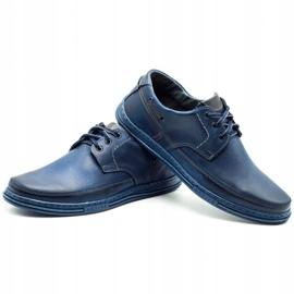 Polbut Leather men's shoes J44 navy blue 6