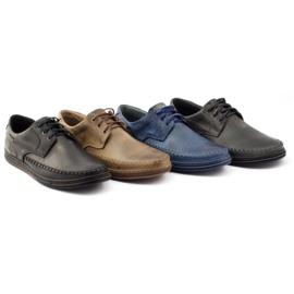 Polbut Leather men's shoes J44PŁ Navy blue 5