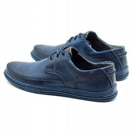 Polbut Leather men's shoes J44 navy blue 7