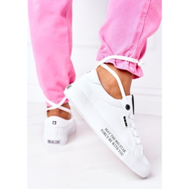 Women's leather sneakers with the inscription Big Star EE274316 White 9