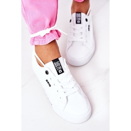 Women's leather sneakers with the inscription Big Star EE274316 White 11
