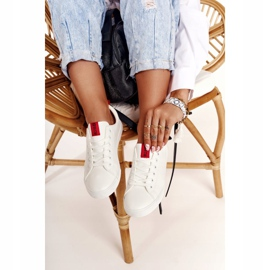 Women's Leather Sneakers With A Ribbon Big Star DD274685 White 12