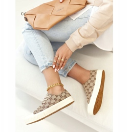 Women's Classic Logged Khaki Challenge Sneakers beige brown 7