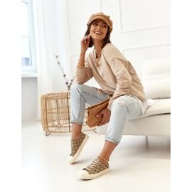Women's Classic Logged Khaki Challenge Sneakers beige brown 5