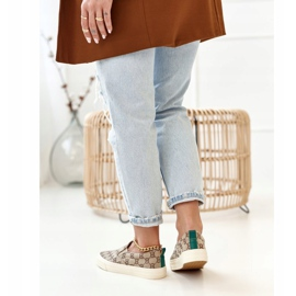 Women's Logged Sneakers Slip-On Khaki Challenge beige brown 2