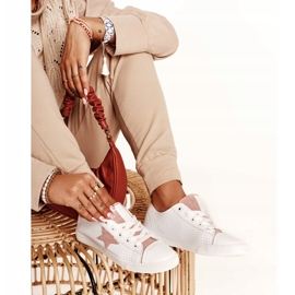 Women's Leather Sneakers With a Star Big Star DD274691 White-Pink 5