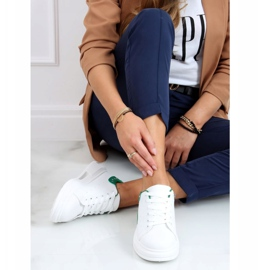 Women's white and green sneakers SC36 WHITE / GREEN 3