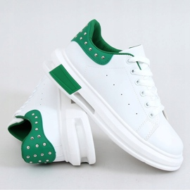 Women's white and green sneakers SC36 WHITE / GREEN 5
