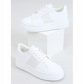 White sneakers on a high sole LA133P White 4