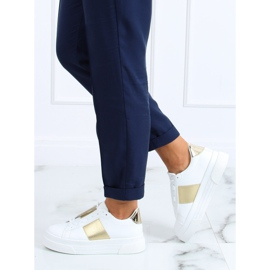 High-soled sneakers white and gold LA133P Gold golden 3