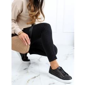 Black women's sneakers with studs LA124P Black 2
