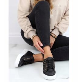Black women's sneakers with studs LA124P Black 1