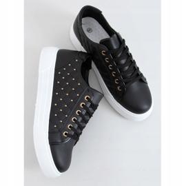 Black women's sneakers with studs LA124P Black 3