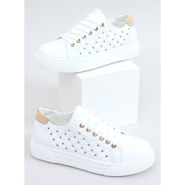 Women's sneakers with white studs LA124P Beige 3