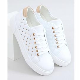 Women's sneakers with white studs LA124P Beige 4