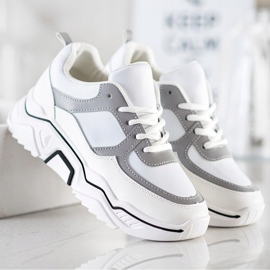 SHELOVET Comfortable sports sneakers white grey multicolored 3