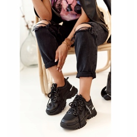 PS1 Women's Black Chunky Sneakers On A Massive Sole 8