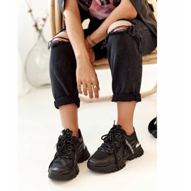 PS1 Women's Black Chunky Sneakers On A Massive Sole 1