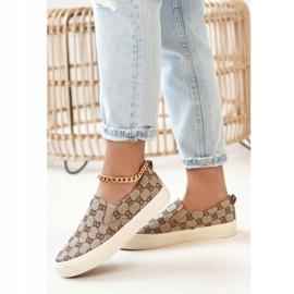 Women's Logged Sneakers Slip-On Khaki Challenge beige brown 5
