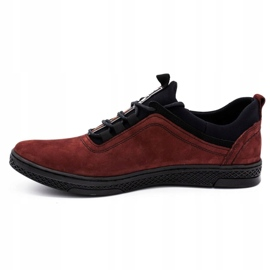Polbut Men's leather casual shoes K24 burgundy red 1