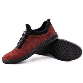 Polbut Men's leather casual shoes K24 burgundy red 3