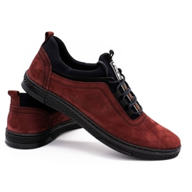 Polbut Men's leather casual shoes K24 burgundy red 4