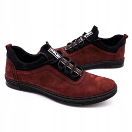 Polbut Men's leather casual shoes K24 burgundy red 5